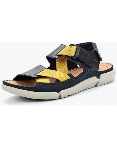 Синие кожаные сандалии Clarks