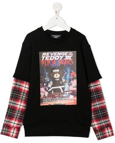 Хлопковая черная футболка с круглым вырезом круглая Neil Barrett Kids
