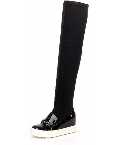 Ботфорты на каблуке кожаные черные Riccorona