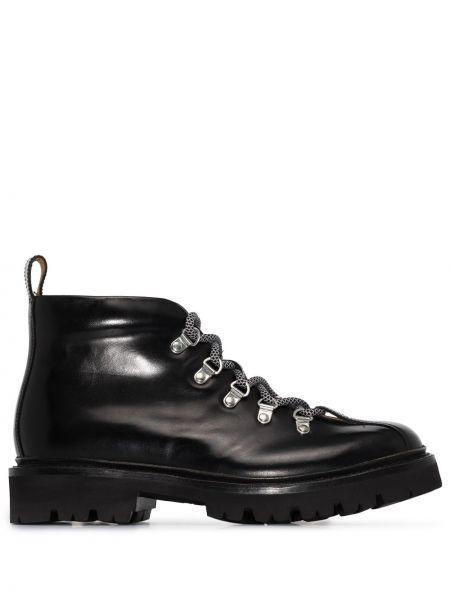 Кожаные ажурные черные сапоги на шнуровке Grenson