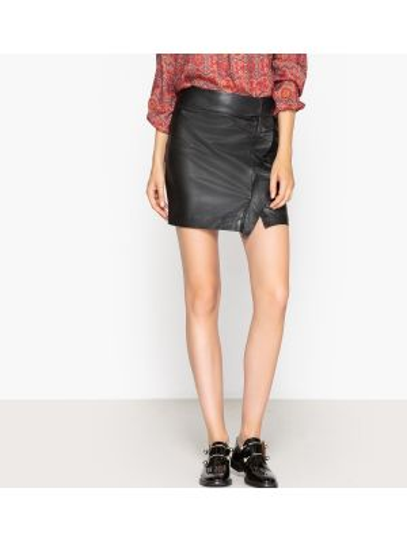 Черная прямая юбка мини с оборками с вырезом Ikks