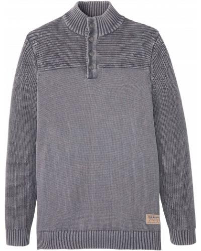 Серый пуловер с вырезом на пуговицах Bonprix