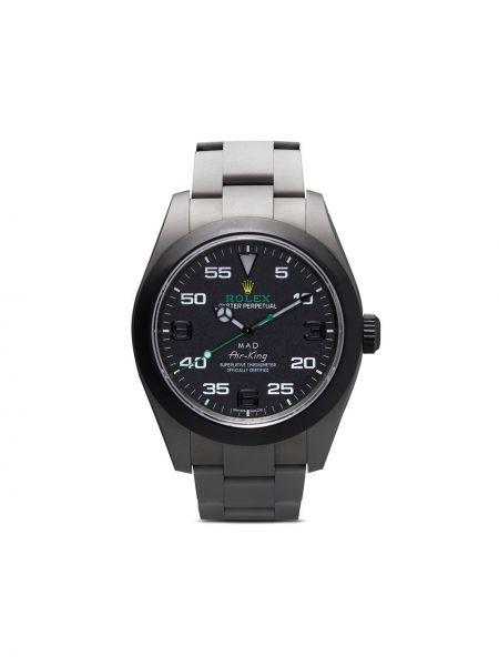 Klasyczny czarny zegarek mechaniczny srebrny Mad Paris