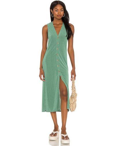 Зеленое текстильное платье миди винтажное Line & Dot