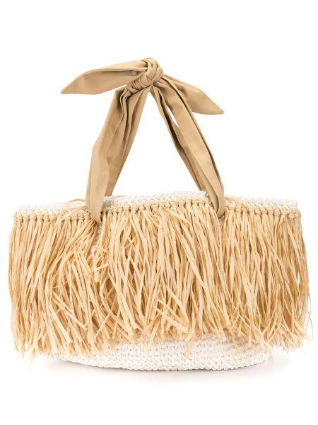 Плетеная пляжная сумка с баской 0711