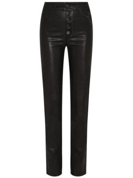 Облегающие кожаные черные брюки Paige