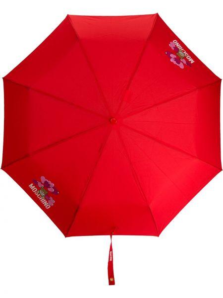 Зонт красный с логотипом Moschino