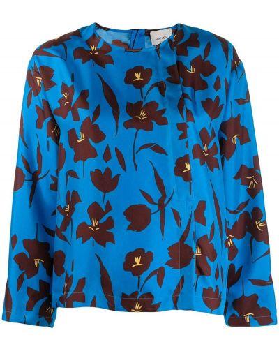 Блузка с длинным рукавом в полоску бирюзовая Alysi
