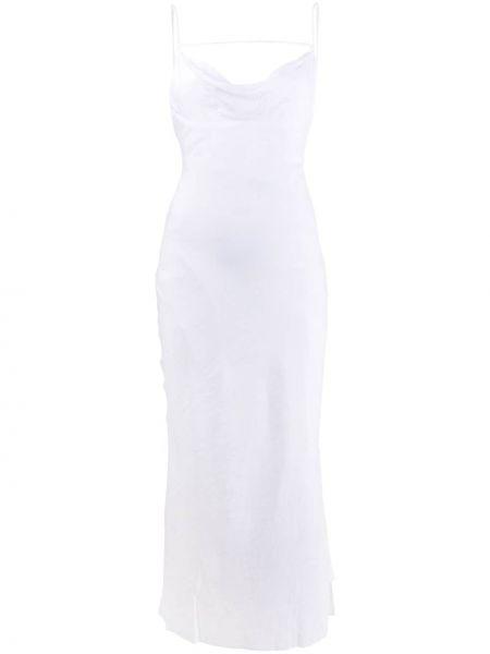 Белое приталенное платье на бретелях с V-образным вырезом Jacquemus