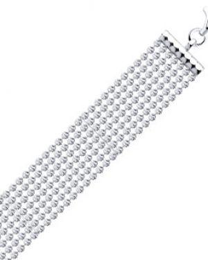 Широкий браслет серебряный свободного кроя Sokolov