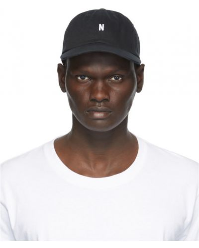 Bawełna bawełna biały czapka z daszkiem z haftem Norse Projects