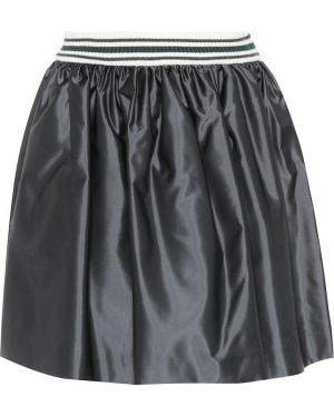 Плиссированная сатиновая черная юбка мини Miu Miu