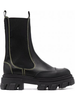 Черные кожаные ботинки Ganni