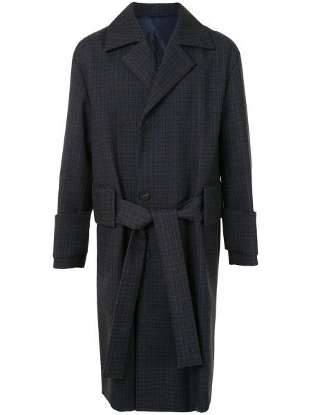 С рукавами однобортное синее шерстяное длинное пальто Wooyoungmi