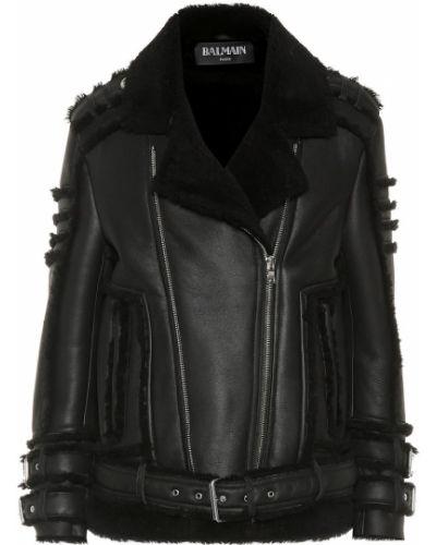 Кожаная куртка черная куртка-пилот Balmain