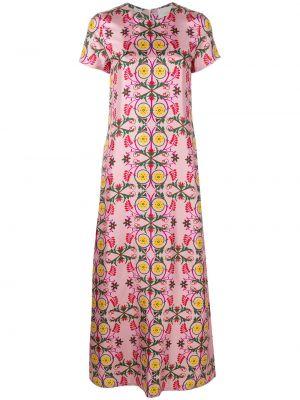 Шелковое розовое платье мини с капюшоном на молнии La Doublej