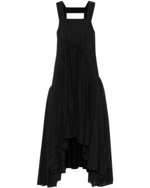 Хлопковое платье миди - черное Loewe