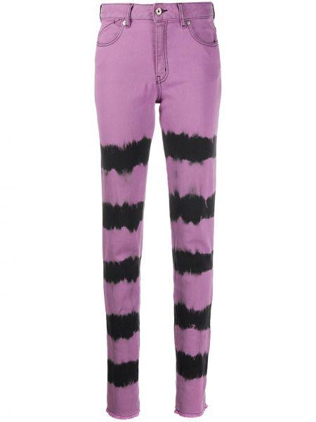 Фиолетовые джинсы на молнии с нашивками Just Cavalli