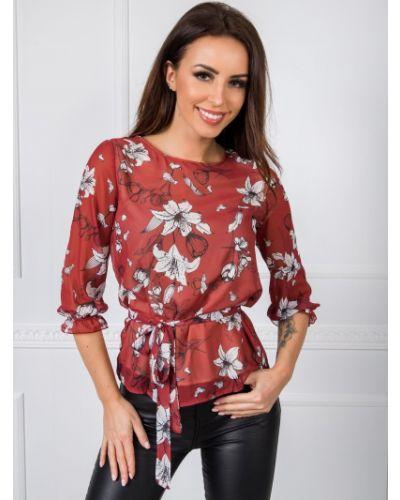 Bluzka w kwiaty - brązowa Fashionhunters