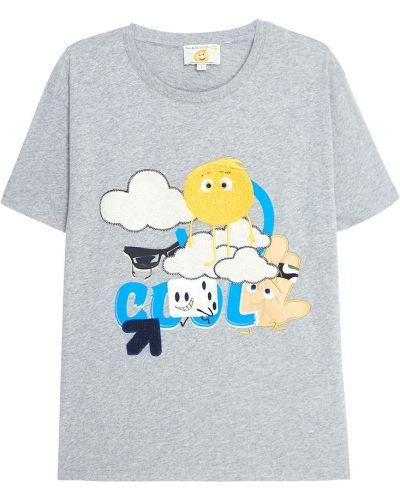 Хлопковая серая с рукавами футболка Paul & Joe Sister