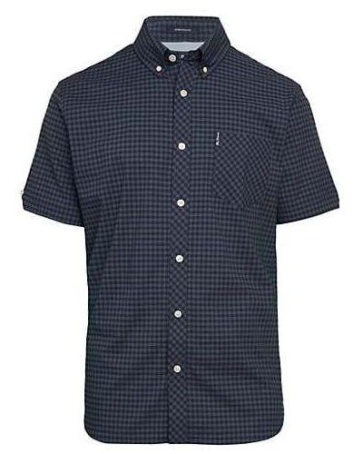 Хлопковая синяя классическая рубашка с короткими рукавами Ben Sherman