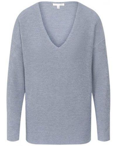 Свободные синий пуловер с V-образным вырезом свободного кроя Skin