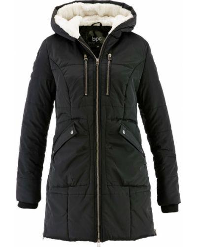 Черная плюшевая зимняя куртка с манжетами с подкладкой Bonprix