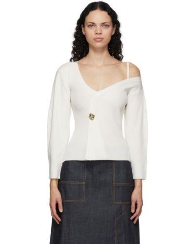 Белый шерстяной длинный свитер с V-образным вырезом 3.1 Phillip Lim