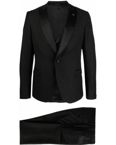 Satynowy czarny garnitur z długimi rękawami Manuel Ritz