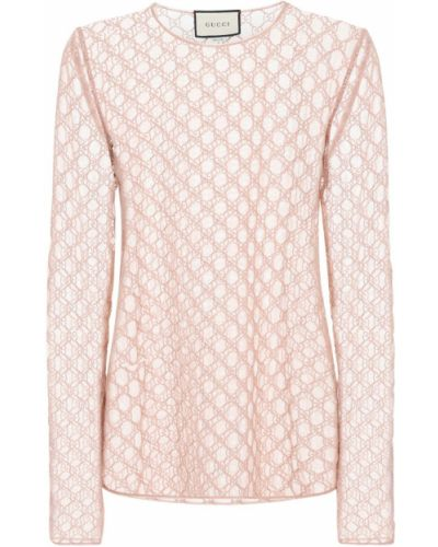 Światło różowy top z haftem z tiulu Gucci