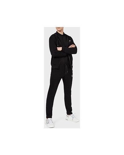 Костюмный хлопковый черный спортивный костюм Ea7