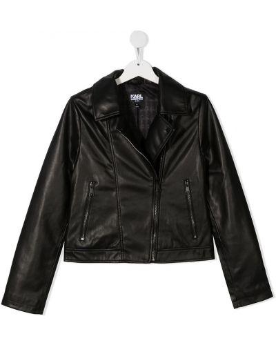 Кожаная черная куртка с карманами байкерская Karl Lagerfeld Kids