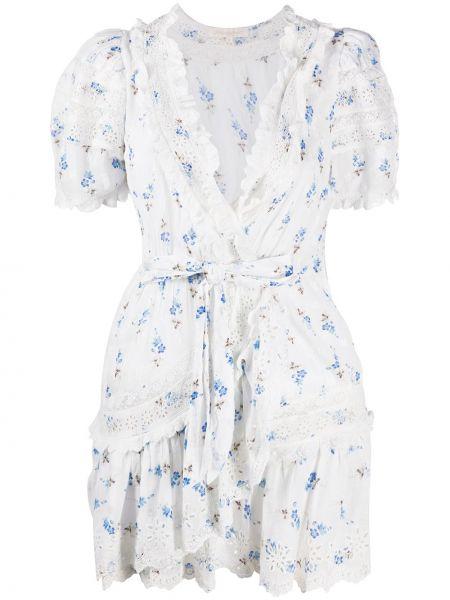 Niebieska sukienka mini krótki rękaw w kwiaty Loveshackfancy