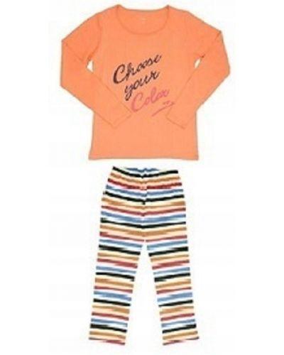 Pomarańczowa piżama bawełniana z długimi rękawami Atlantic