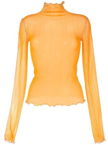 С рукавами оранжевый топ прозрачный с декоративной отделкой G.v.g.v.