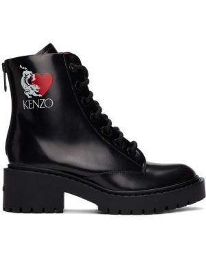 Сапоги на высоком каблуке черные на шнуровке Kenzo