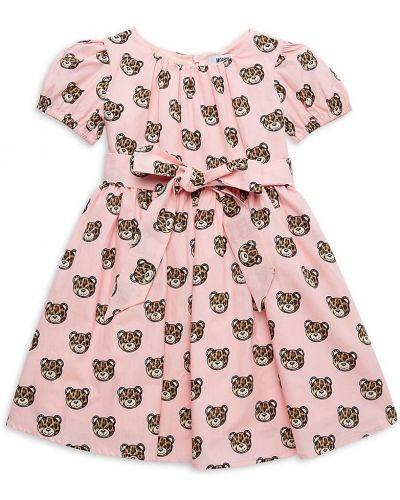 Хлопковое розовое платье с поясом Moschino