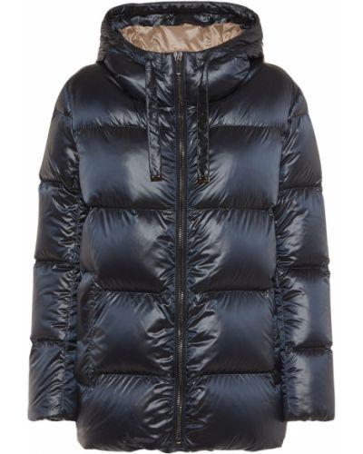 Пуховая синяя куртка с капюшоном Max Mara