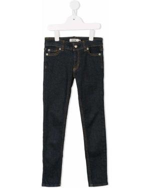 Кожаные синие джинсы скинни Fith