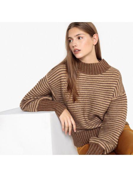 Акриловый коричневый пуловер круглый с круглым вырезом See U Soon