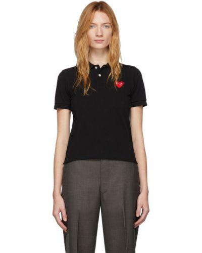 Bawełna czarny koszulka polo krótkie rękawy z haftem Comme Des Garcons Play
