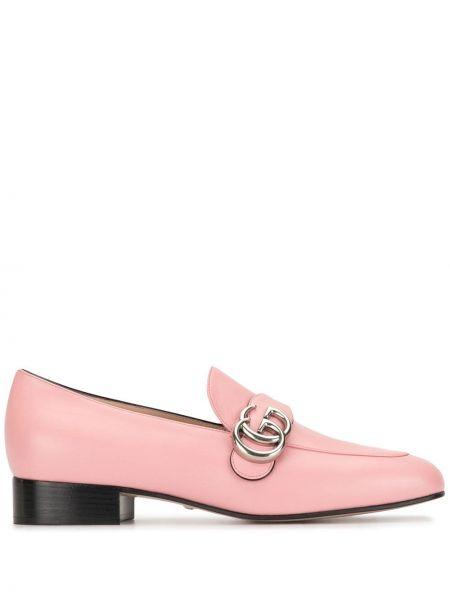 Różowy loafers z prawdziwej skóry płaska podeszwa plac Gucci