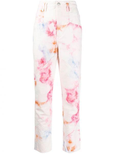 Jeansy na wysokości różowy z łatami Isabel Marant