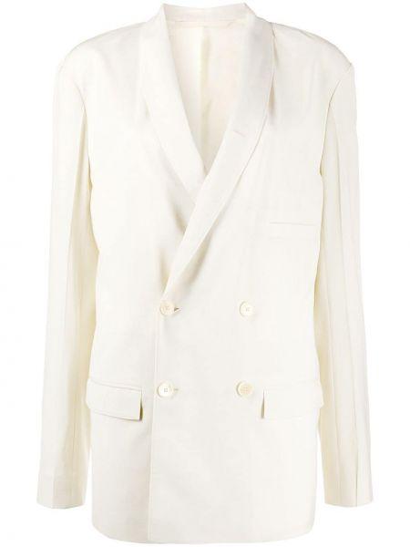 Белый пиджак двубортный с карманами Lemaire