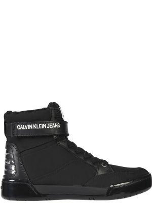 Кожаные кроссовки - черные Calvin Klein Jeans