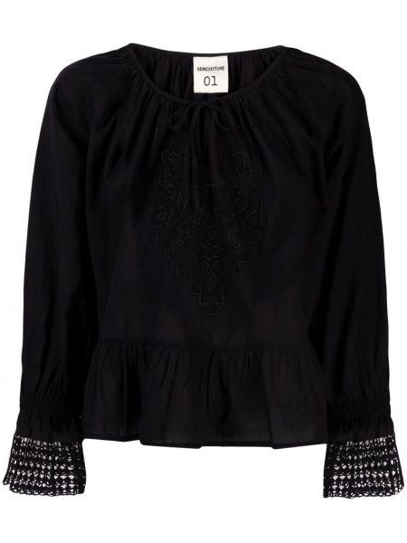 Czarna bluzka z długimi rękawami z siateczką Semicouture