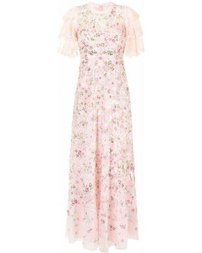 Розовое вечернее платье с вышивкой Needle & Thread