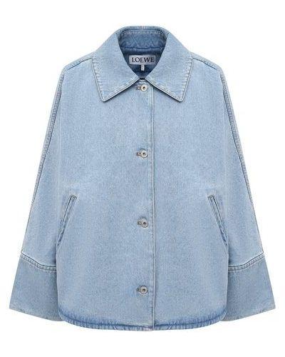 Хлопковая синяя джинсовая куртка Loewe