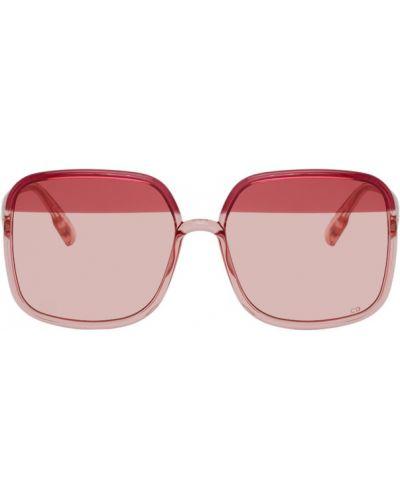 Кожаные розовые солнцезащитные очки квадратные Dior