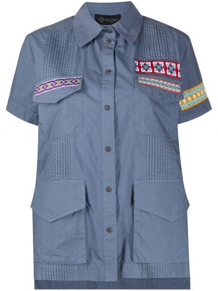 Рубашка с коротким рукавом - синяя Mr & Mrs Italy